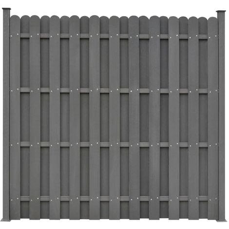 Hommoo Fence Panel with 2 Posts WPC 180x180 cm Grey