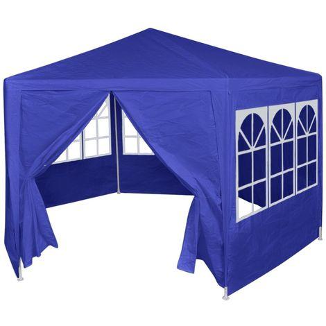 Hommoo Festzelt mit 6 Seitenwänden Blau 2x2 m VD26967