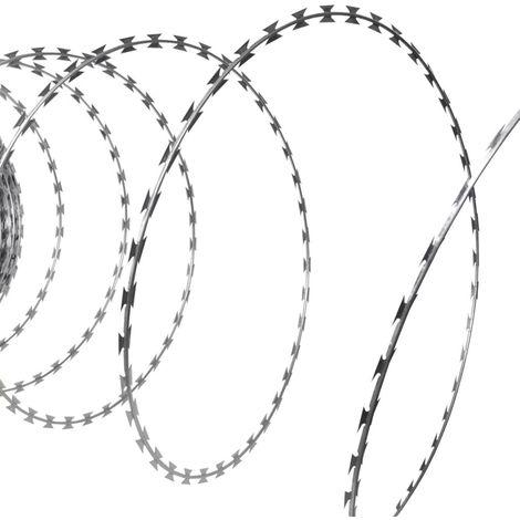 Hommoo Fil de fer barbelé NATO Rouleau hélicoïdal Acier galvanisé 100m
