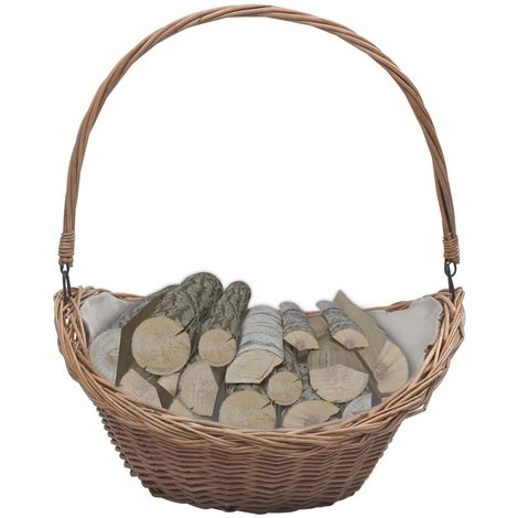 Hommoo Firewood Basket with Handle 57x46.5x52 cm Brown Willow VD37037