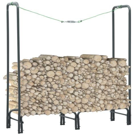 Hommoo Firewood Rack Anthracite 120x35x120 cm Steel