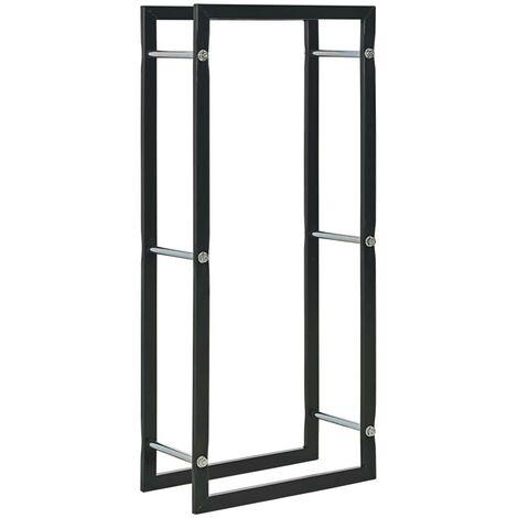Hommoo Firewood Rack Black 44x20x100 cm Steel
