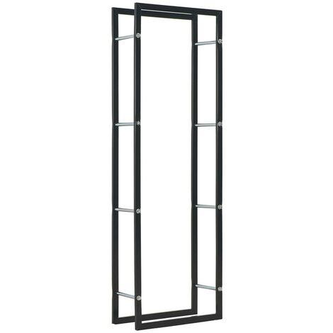 Hommoo Firewood Rack Black 50x20x150 cm Steel