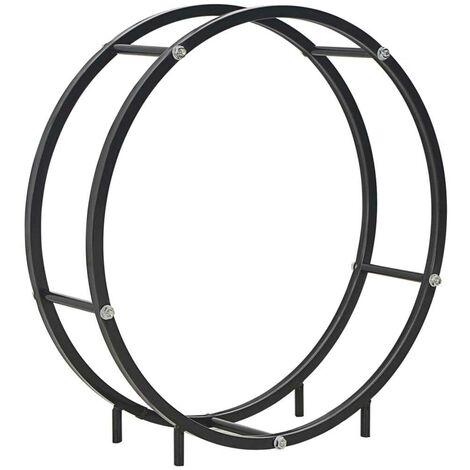 Hommoo Firewood Rack Black 70x20x70 cm Steel