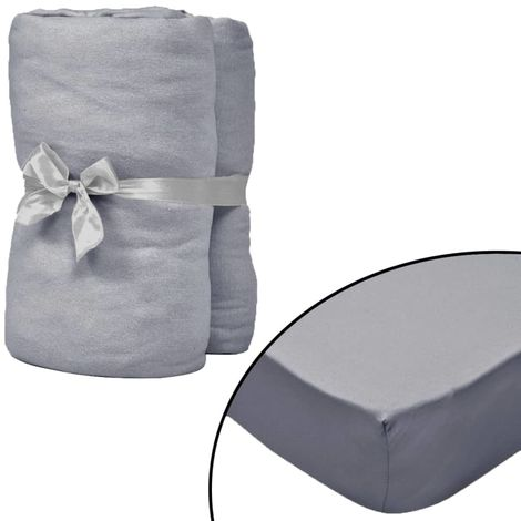Hommoo Fitted Sheets for Cots 4 pcs Cotton Jersey 60x120 cm Grey VD02254
