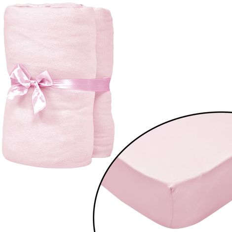 Hommoo Fitted Sheets for Cots 4 pcs Cotton Jersey 60x120 cm Pink