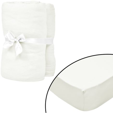 Hommoo Fitted Sheets for Cots 4 pcs Cotton Jersey 70x140 cm Offwhite