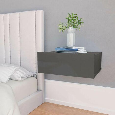 Hommoo Floating Nightstand High Gloss Grey 40x30x15 cm Chipboard VD31351