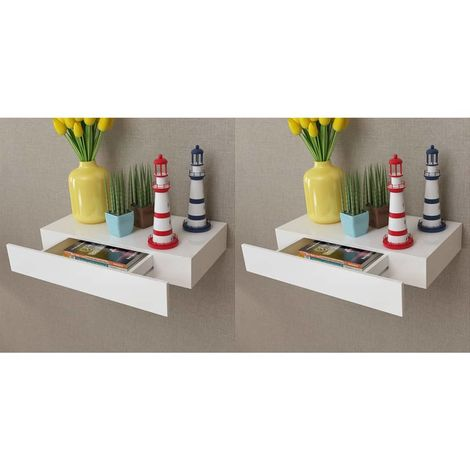Hommoo Floating Wall Shelves with Drawers 2 pcs White 48 cm VD18890