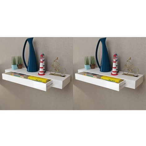 Hommoo Floating Wall Shelves with Drawers 2 pcs White 80 cm VD18891
