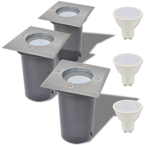 Hommoo Focos LED empotrables de suelo para exteriores 3 unids cuadrados