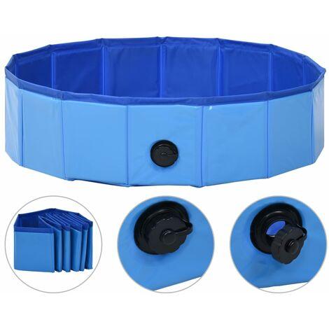 Hommoo Foldable Dog Swimming Pool Blue 80x20 cm PVC QAH07337
