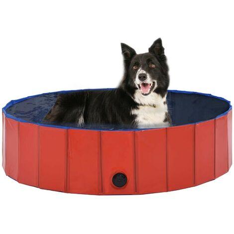 Hommoo Foldable Dog Swimming Pool Red 120x30 cm PVC VD07335