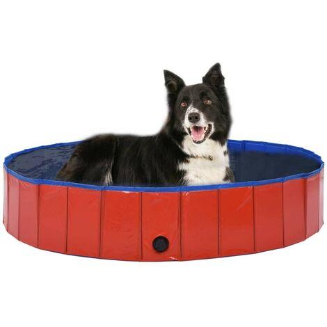 Hommoo Foldable Dog Swimming Pool Red 160x30 cm PVC VD07336