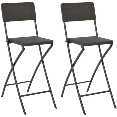 Hommoo Folding Bar Chairs 2 pcs HDPE and Steel Brown Rattan Look