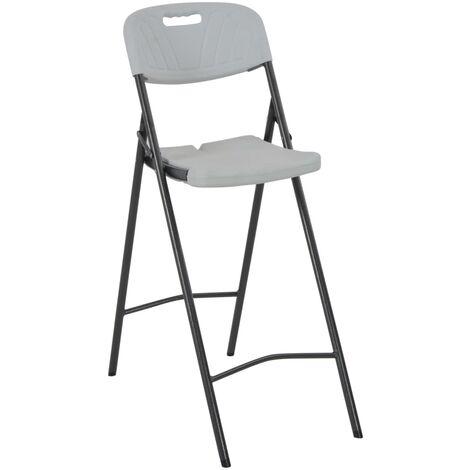 Hommoo Folding Bar Chairs 2 pcs HDPE and Steel White QAH28753