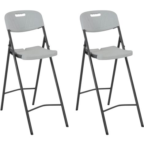 Hommoo Folding Bar Chairs 2 pcs HDPE and Steel White VD28753