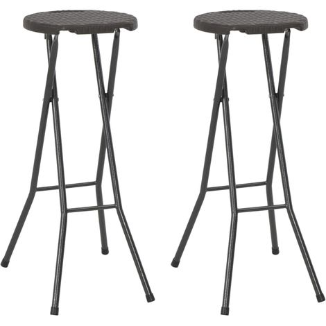 Hommoo Folding Bar Stools 2 pcs HDPE and Steel Brown Rattan Look