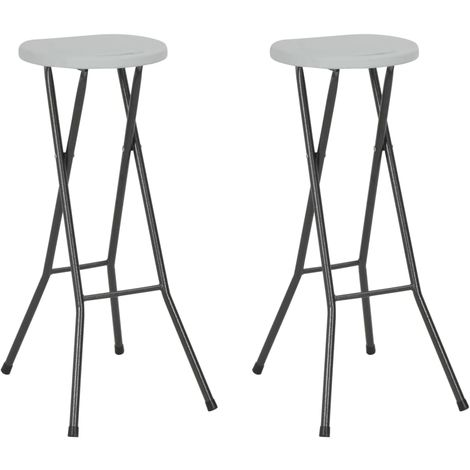 Hommoo Folding Bar Stools 2 pcs HDPE and Steel White