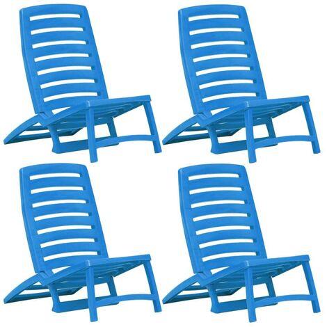 Hommoo Folding Beach Chair 4 pcs Plastic Blue VD29756