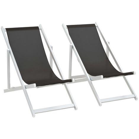 Hommoo Folding Beach Chairs 2 pcs Aluminium and Textilene Black