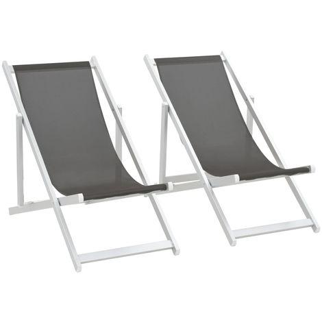 Hommoo Folding Beach Chairs 2 pcs Aluminium and Textilene Grey