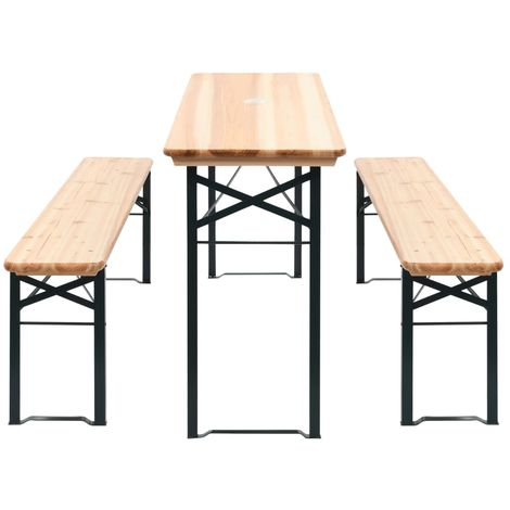 Hommoo Folding Beer Table with 2 Benches 177 cm Pinewood