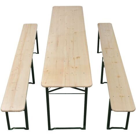 Hommoo Folding Beer Table with 2 Benches 220 cm Fir Wood QAH26858