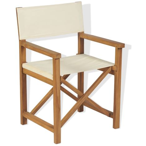 Hommoo Folding Director's Chair Solid Teak Wood VD28039