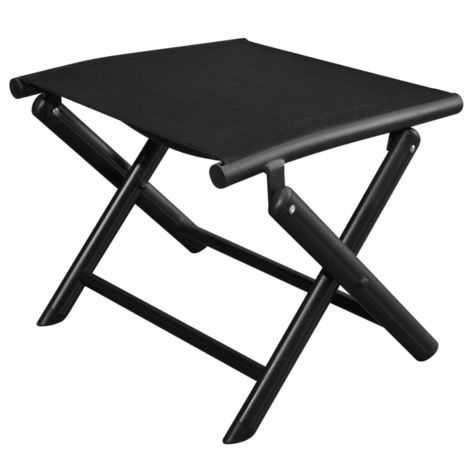 Hommoo Folding Footstool Black Aluminium and Textilene