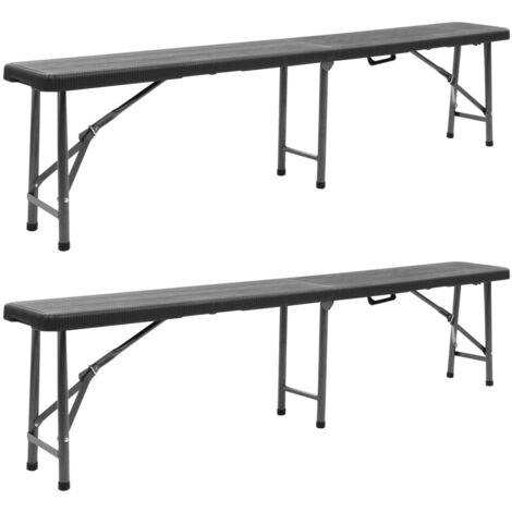 Hommoo Folding Garden Benches 2 pcs 180 cm HDPE Black