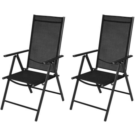 Hommoo Folding Garden Chairs 2 pcs Aluminium and Textilene Black