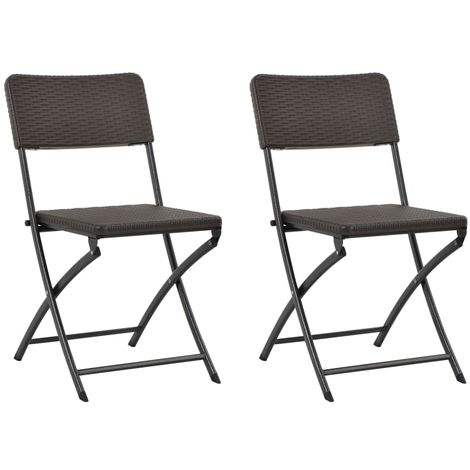 Hommoo Folding Garden Chairs 2 pcs HDPE and Steel Brown
