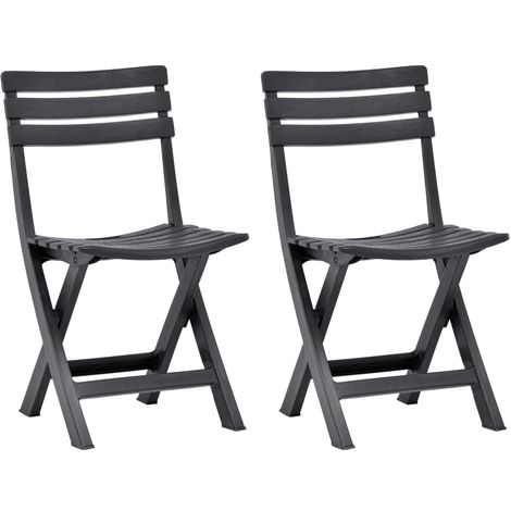 Hommoo Folding Garden Chairs 2 pcs Plastic Anthracite VD46677