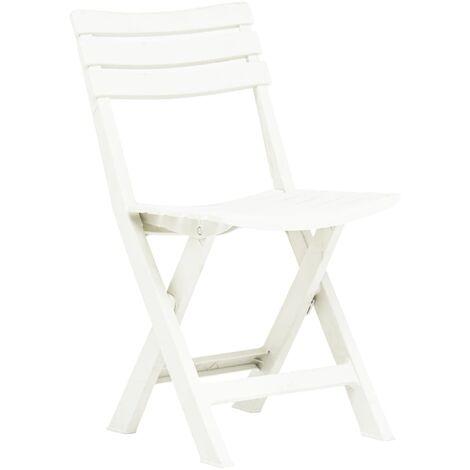 Hommoo Folding Garden Chairs 2 pcs Plastic White QAH46676