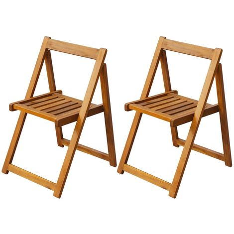 Hommoo Folding Garden Chairs 2 pcs Solid Acacia Wood