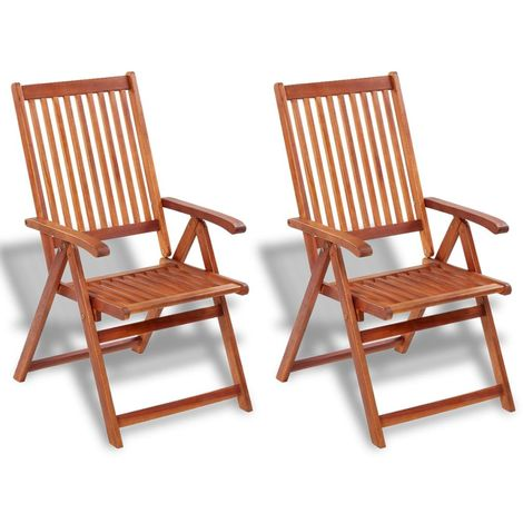 Hommoo Folding Garden Chairs 2 pcs Solid Acacia Wood Brown VD26706