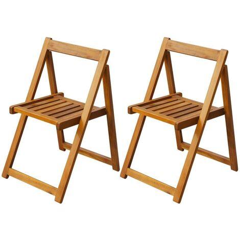 Hommoo Folding Garden Chairs 2 pcs Solid Acacia Wood VD27170