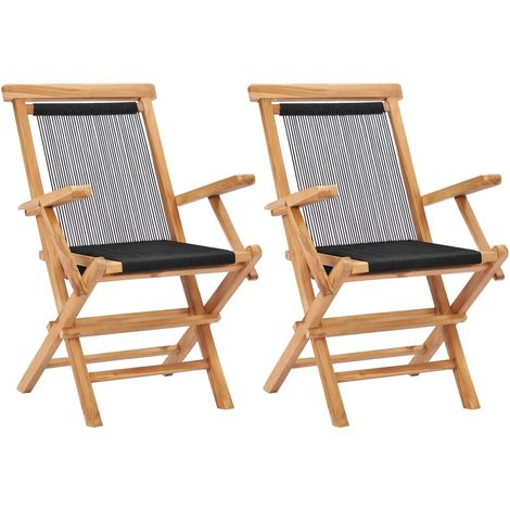 Hommoo Folding Garden Chairs 2 pcs Solid Teak Wood and Rope VD47002