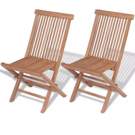 "main image of ""Hommoo Folding Garden Chairs 2 pcs Solid Teak Wood VD26781"""