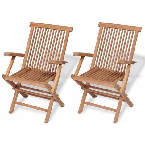 Hommoo Folding Garden Chairs 2 pcs Solid Teak Wood VD26785