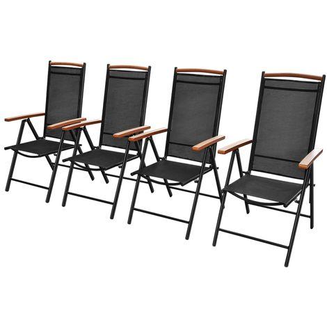 Hommoo Folding Garden Chairs 4 pcs Aluminium and Textilene Black