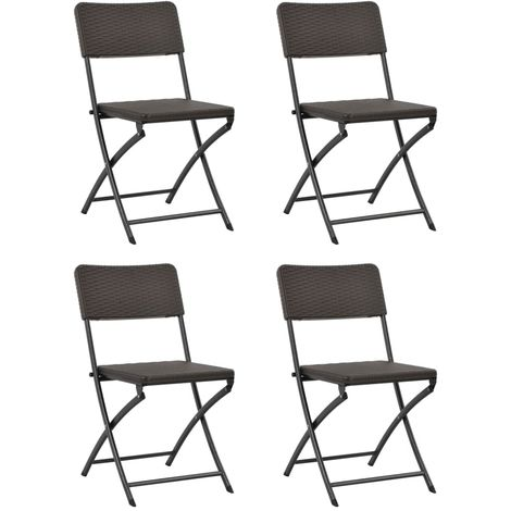 Hommoo Folding Garden Chairs 4 pcs HDPE and Steel Brown