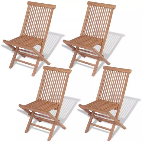Hommoo Folding Garden Chairs 4 pcs Solid Teak Wood VD27473