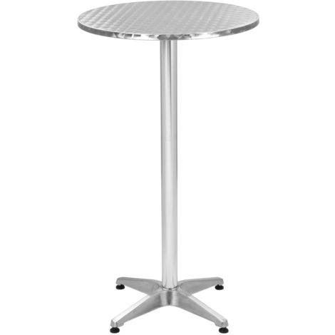 Hommoo Folding Garden Silver Table 60x(70-110) cm Aluminium