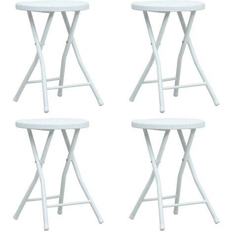 Hommoo Folding Garden Stools 4 pcs White HDPE Rattan Look