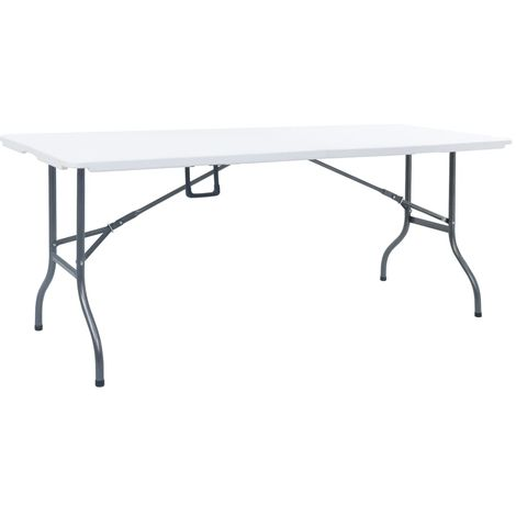 Hommoo Folding Garden Table White 180x72x72 cm HDPE VD46716