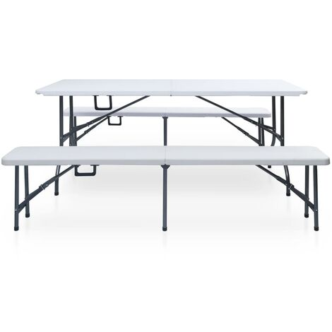 Hommoo Folding Garden Table with 2 Benches 180 cm Steel and HDPE White QAH46720