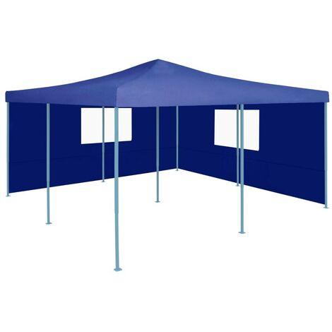 Hommoo Folding Gazebo with 2 Sidewalls 5x5 m Blue VD46763