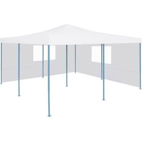 Hommoo Folding Gazebo with 2 Sidewalls 5x5 m White VD46772